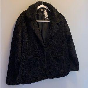 Short black teddy coat